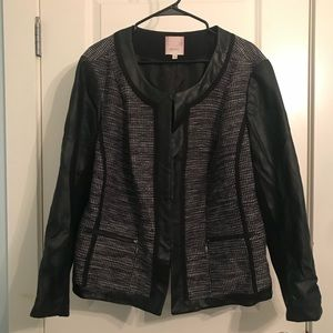 Sejour Leather and Tweed Jacket
